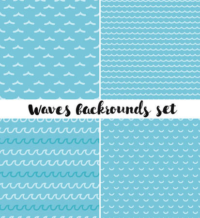 gale: Vector set of different kind seamless patterns. Waves background.
