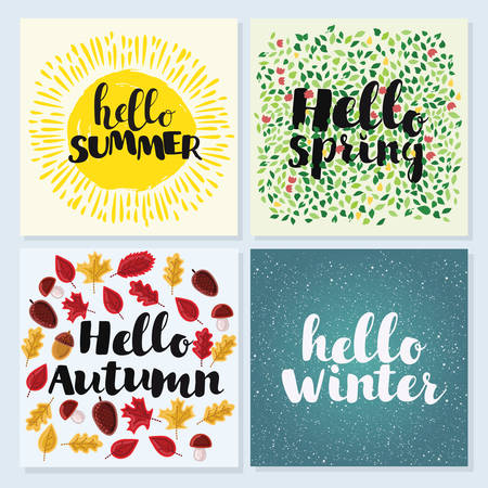 spring summer: Vector cards of Four Seasons with hand drawn lettering. Hello spring, winter, spring, summer