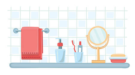 toiletries: Vector illustration of toiletries. Acseesories an cosmetic bottles template set. Mirror, soap, toothbrush, toothpaste, dispenser, bathing towel Illustration