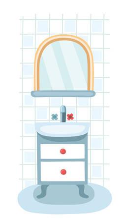kitchen shower: Elements for modern bathroom. Mirror, shelf and sink. Interior, under sink locker on on vintage legs. Sanitary Ware Objects