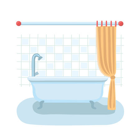 shower curtain: Vector cartoon illustration of bthroom interior in flat style with open shower curtain.