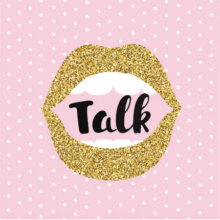 blab: Vector illustration of woman open moth. Concept of gossip or love. Female golden lips speak. Hand drawn lettering of word Talk. Pink background