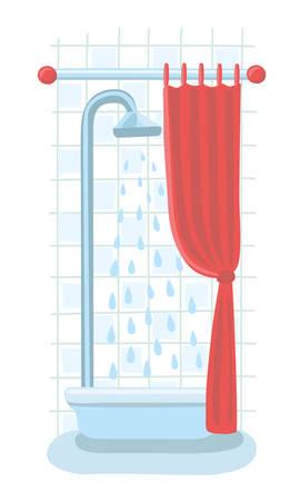shower curtain: Vector cartoon illustration of shower tray and a curtain in bathroom interior Illustration