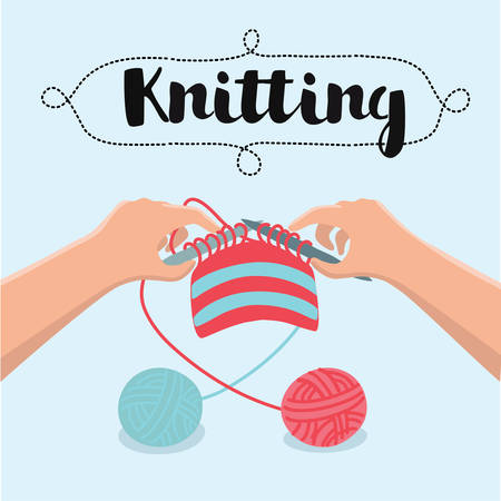 Vector carton illustration of knitting process and accessories. Workshop, hands hold needles with thread anda ball of yarn