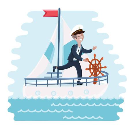 ホイールの回転漫画 captiain かわいい男の子のベクトル図と海に船を操縦  イラスト・ベクター素材
