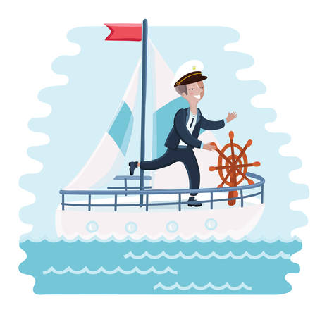 Vector illustration of of cartoon captiain cute boy spinning wheel and steers the ship into the sea Illustration