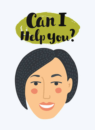 Vector illustration of female consultant face, vector in unusual simple style with message can I help you? Smiling support woman with bubble speech ballon. Close up view Illustration
