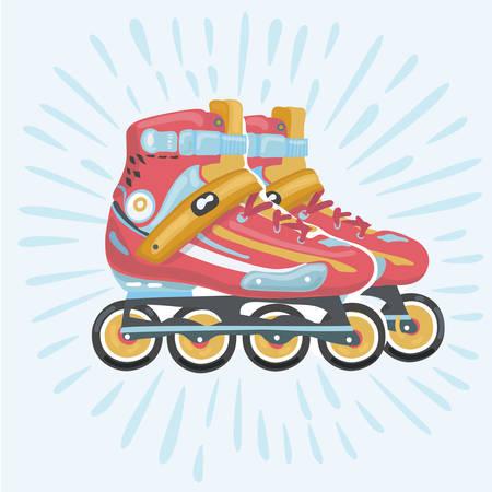 Vector cartoon illustration of roler blade vector, rollerskating, rollerblading, red roller blade, sport equipment Illustration
