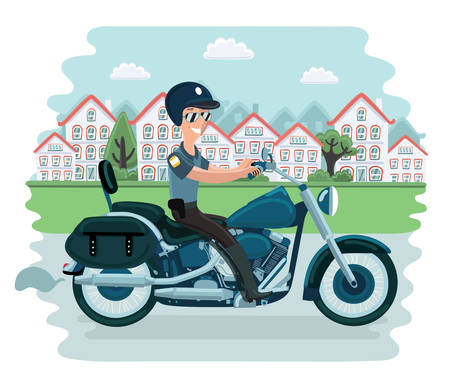 Vectro cartoon illustration of police officer character sitting on motorcycle and riding in town landscape. Illustration