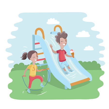 playmates: Vector illustration of kids on playground. Cute boy is sliding children slide and happy girl is jumping rope
