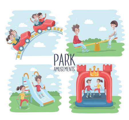 Vector illustration of playground scene, children play on the outdoors. Children ride on a roller coaster, kids jumping on an inflatable trampoline, on seesawk, sliding childrens slide and happy girl is jumping rope. Park amusements