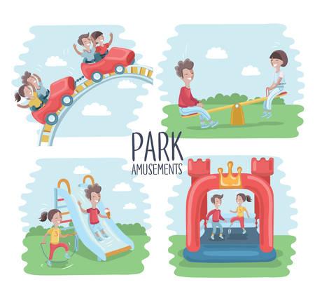 Vector illustratie van speelplaats scene, kinderen spelen op het buitenleven. Kinderen rijden op een achtbaan, kinderen springen op een opblaasbare trampoline, op seesawk, glijdende kinderen glijbaan en gelukkig meisje is springtouw. Park amusement