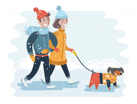 Vector illustration of happy couple walking in winter snow park with dog Vektorové ilustrace