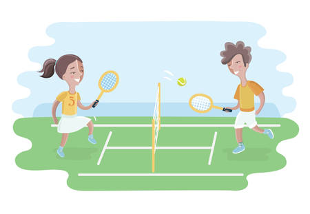 Vector cartoon illustration of two kids play tennis on court. Girls and boy
