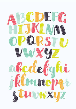 Vector set of cartoon colorful alphabet hand written. Lowercase and downcase letters with dotted decor abc alphabet letters. . Cute abc design for book cover, poster, card, print on babys clothes, pillow etc. Colorful letters composition Иллюстрация