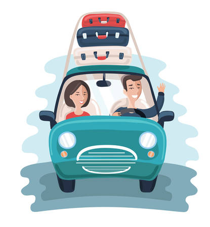 Vector cartoon illustration of young Travelers. Family couple take travel trip in car with a Lot of Bags. Roof luggage