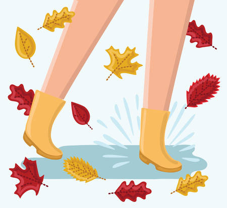 Vectorcute funny illustration of legs running around in the rain puddles in ruuber boots and yellow and red fallen leaves. Fall and autumn season. Illustration