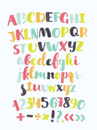 Vector cute alphabet colorful sticker alphabet with number and plus, minus, division, multiplication, quotation marks, equals. Set of characters uppercase and lowercase colorl letters for card, banners, education Illustration