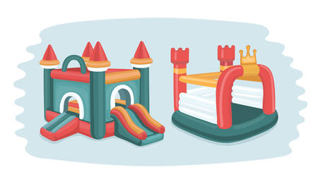 Vector cartoon grappige illustratie van twee opblaasbare kastelen trampoline in speelplaats in park. Geïsoleerde objecten.