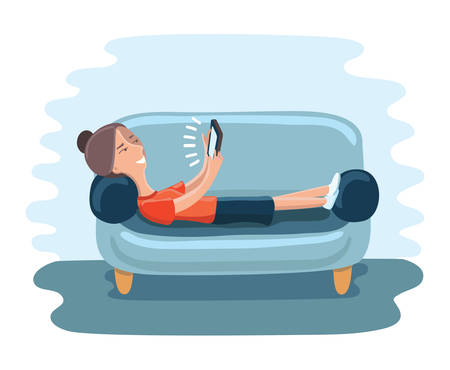 Woman lying on sofa with tablet and smiling Illustration