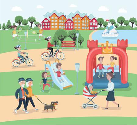 벡터 만화 일러스트 레이 션 공원 요소 벡터 디자인의 나머지 부분. 사람들은 자연 속에서 편안한 시간을 보내고 있습니다. 부모와 아이들이 공원을 걷