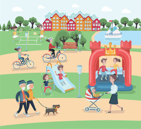 Vector cartoon illustration of rest in the park elements vector design. People spend time relaxing in nature. Parents and children are walking in the park, kids play tennis, woman and stroller. couple with dog, people on bike. Man, woman set
