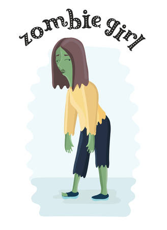 Vector funny illustration of Cartoon Female zombie