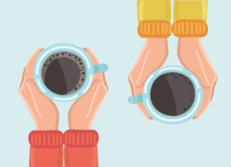 Vector illustration of two friends drinking coffee. Tea Coffee Break, Cup Mug, Top view of table in cafe. Woman frienship in automn. Friendly support in difficult times, woman conversation coffee house 向量圖像