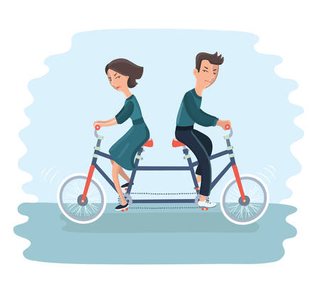 Vector cartoon illustration of young couple. Woman and man ride tandem bycicle in different derections. Concept of disagreement, misunderstanding, separation, the crisis in relationship
