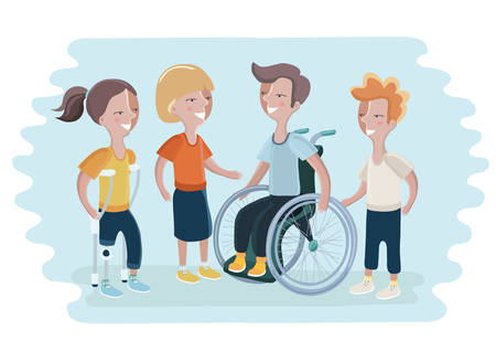Vector illustration of disabled people and them friends. Boy in wheelchair, girl with prosthetic leg. Special needs children and handicapped children.