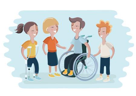 장애인과 그들 친구의 벡터 일러스트 레이 션. 휠체어, prosthetic 다리 소녀입니다. 특별 장애 아동 및 장애 아동이 필요합니다.