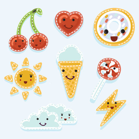 Vector set of quirky cartoon patch badge wiyh smiling facess or fashion pin badges