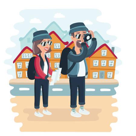 Vector cartoon illustration of toursts couple taken pictire of city