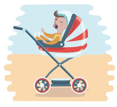 Bébé drôle de dessin animé dans le garçon de la poussette avec une sucette. Banque d'images - 81999137