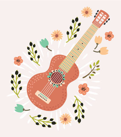 Cartoon illustration of red Mexican guitar decorated with flowers in vintage style.