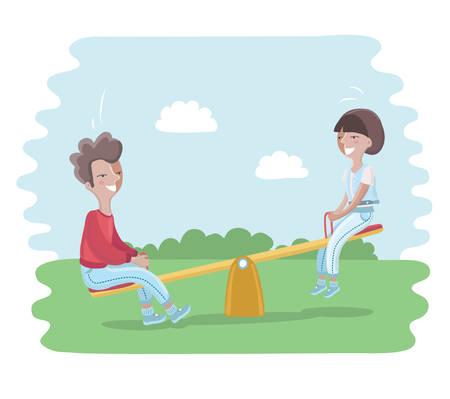 playmates: Ilustración de dibujos animados de niños en balancín en el parque.