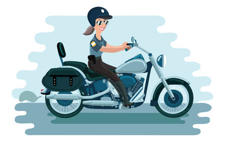 Vector illustration of police woman is riding by her motorcycle in helmet