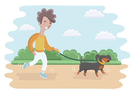 for boys: Vector cartoon illustration of cute boy walking with dog in the park