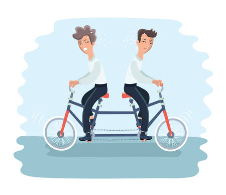 Vector illustratioon of two angry men riding on tandem bycicle on different direction. Graphic concept of controversy and conflict in team Ilustração