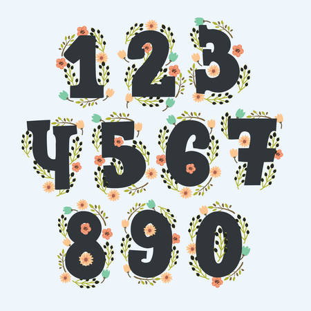 Cute floral numbers with decor. Numbers made of flowers and in vintage colors. Zero, one, two, three, four, five, six, seven, eight, nine - signs in vector with wreath. Hand drawn elements for your design and greeting card
