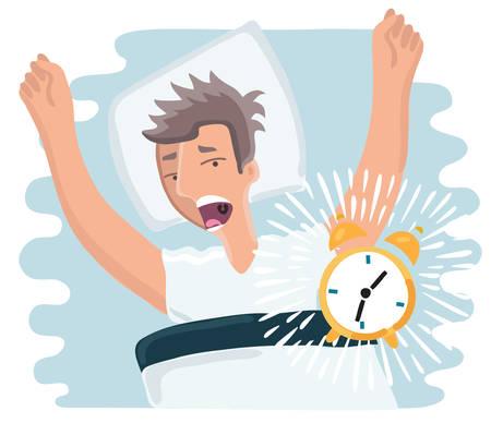 lay: Vector cartoon illustration of slept through man woke up, the alarm clock is ringing, man screaming Illustration