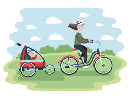 Colorful vector cartoon illustration of young Woman riding a bicycle with her cute Baby in bike trailers for kids and babiest riding in the park. Vector illustration for Mothers Day celebration. People in helmet