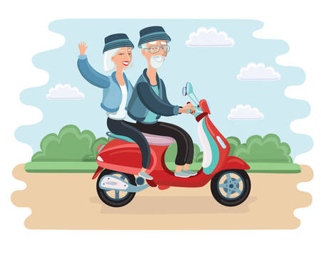 Vector illustration of adventurous elderly couple riding a scooter in the park