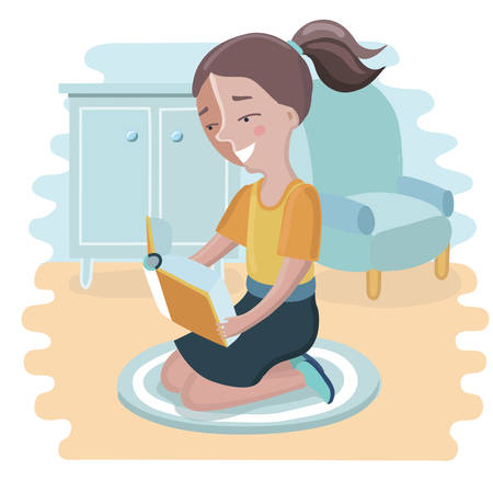 storybook: Vector cartoon illustration of cute girl reading a book and seating on her knees