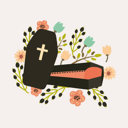 flying coffin: Vector illustration of cute coffin decorated with flowers. For your design cards and prints