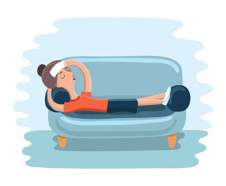 laid: Vector cartoon illustration of woman lying on sofa with sickness. Sick female resting or laid up on couch. Illness or disease. Girl suffering headache Illustration