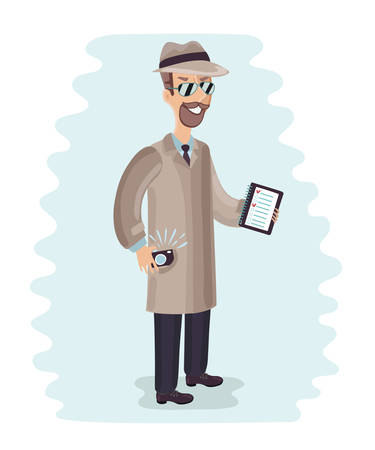 Young male spy agent wearing a hat, coat and a tie, holding camera. Eyes hidden in the shadow. Mystery shopper Illustration