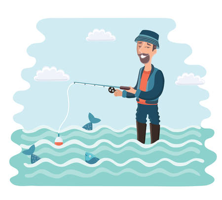 Vector cartoon illustration of happy bearded fisherman standing in the water with a fishing rod in his hands. Camping, vacation, relax. Fish and and float Ilustracja