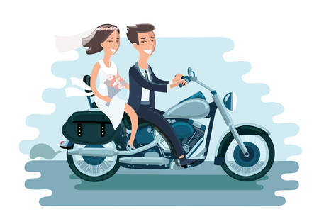 Cartoon vector illustration of wedding young couple riding the motorcycle. Funny bride and groom Иллюстрация