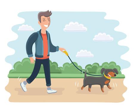 公園で犬の屋外を歩いて若い男のベクトル漫画イラスト